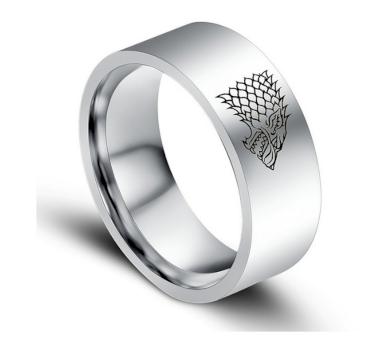 Stříbrný prsten z chirurgické oceli se Stark house z Games of Thrones-Hra o trůny SR000065