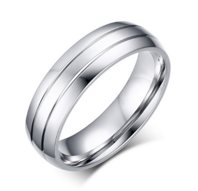 Stříbrný prsten z leštěné chirurgické oceli Decent SR000032