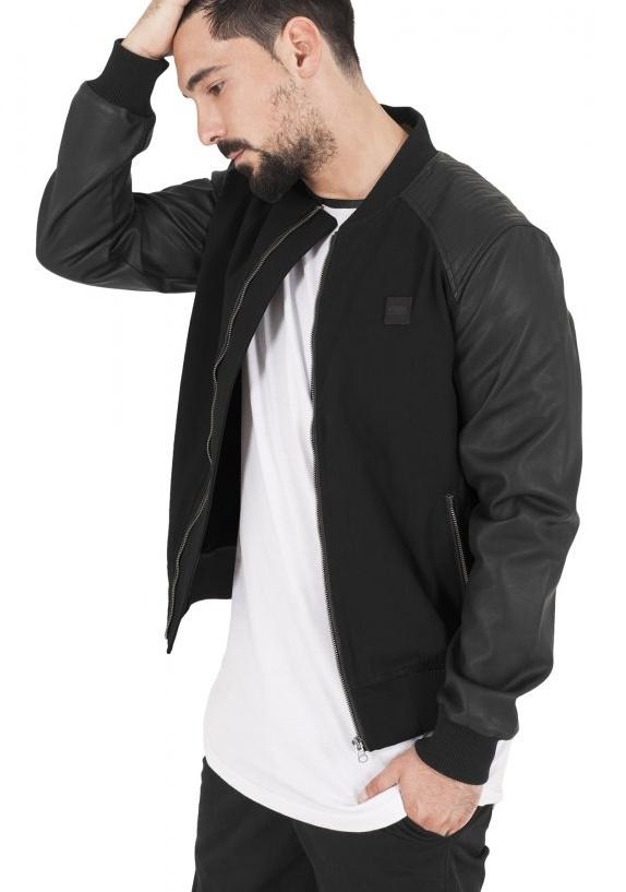 Bunda Urban Classics Cotton Bomber Leather Imitation Sleeve Jacket - black/black