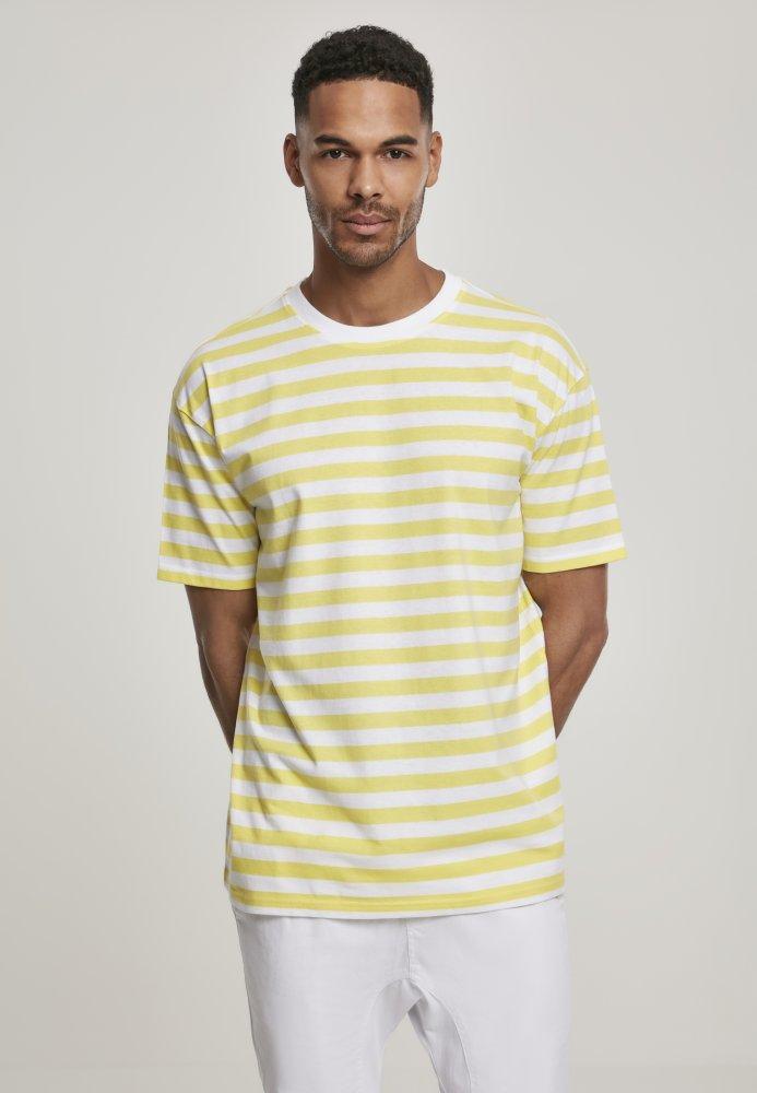 Oversized Yarn Dyed Bold Stripe Tee - yellow/white