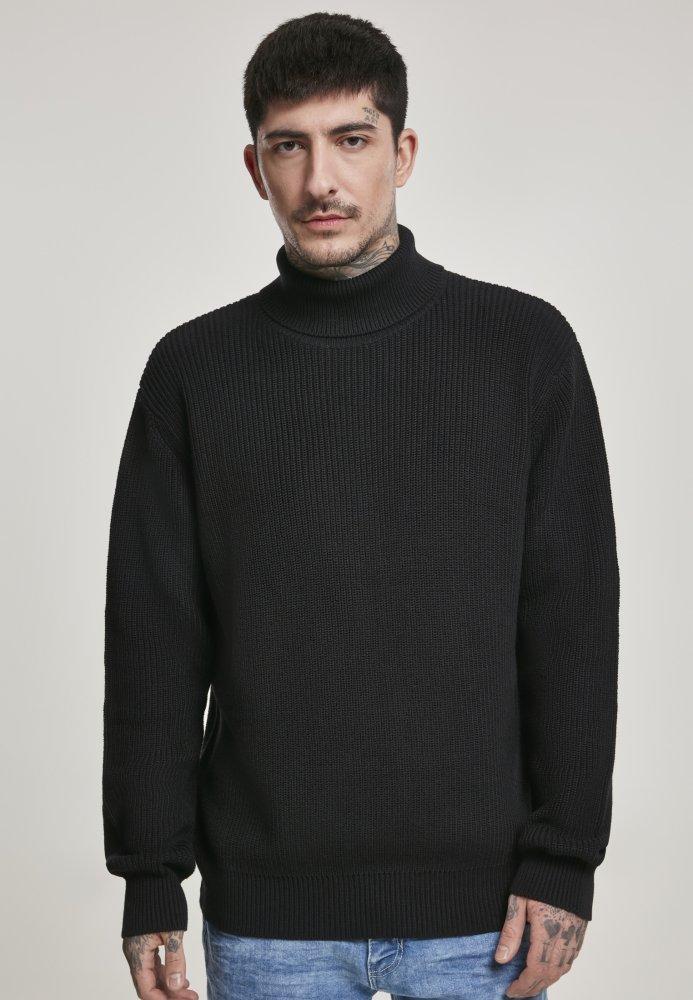 Cardigan Stitch Roll Neck Sweater - black