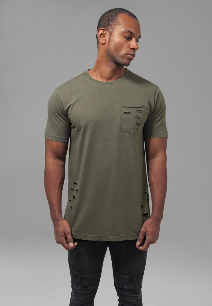 Ripped Pocket Tee - olive