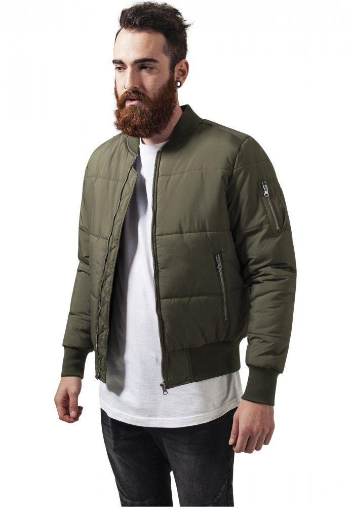 Basic Quilt Bomber Jacket - olive