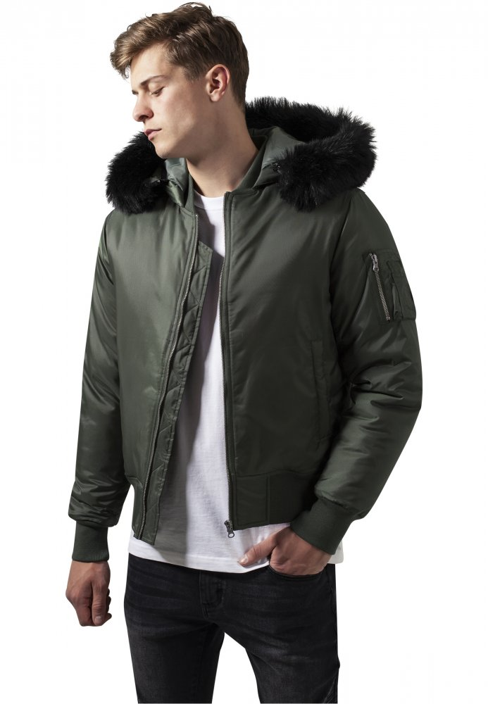 Hooded Basic Bomber Jacket - olive