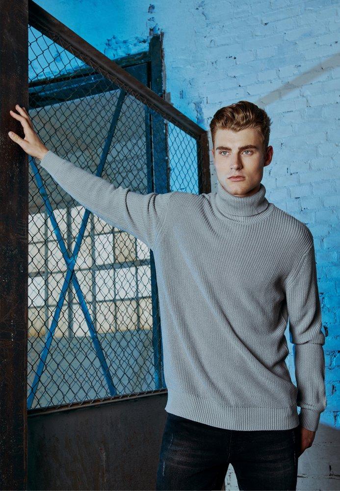 Cardigan Stitch Roll Neck Sweater - grey