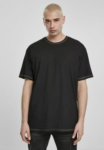 Heavy Oversized Contrast Stitch Tee - black/electriclime