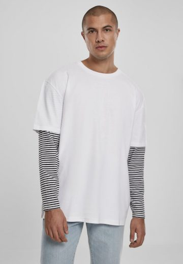 Oversized Double Layer Striped LS Tee - white