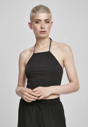 Ladies Cropped Neckholder Top - black