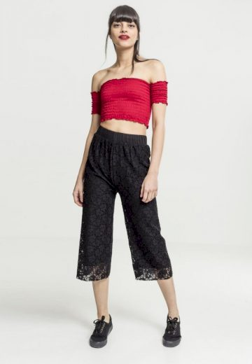 Ladies Cropped Cold Shoulder Smoke Top - fire red