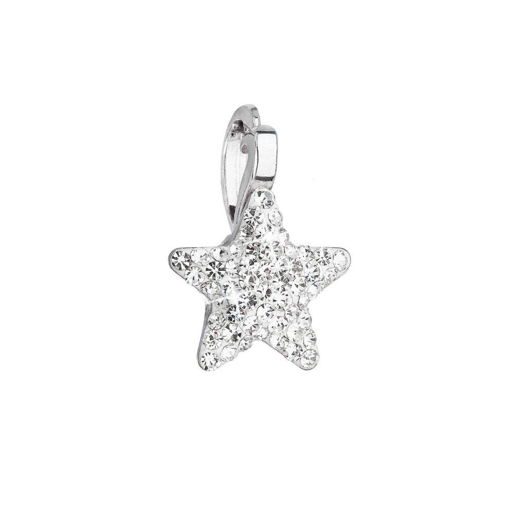 Stříbrný přívěsek s Preciosa krystaly bílá hvězdička 34260.1