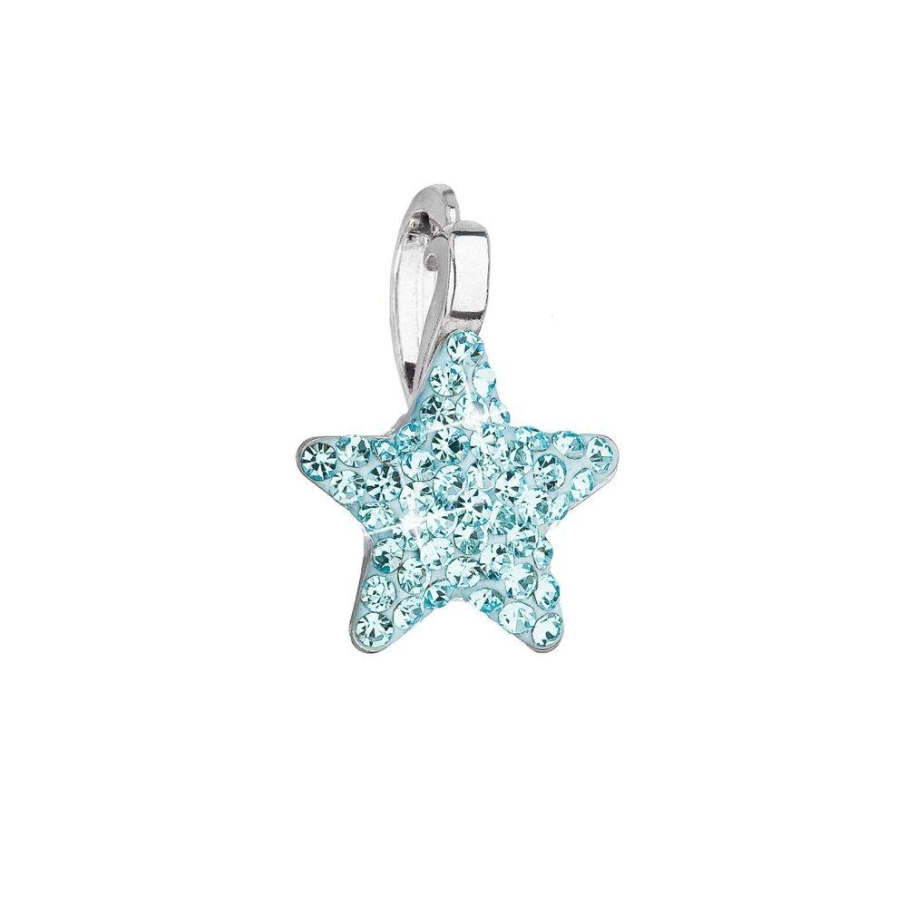 Stříbrný přívěsek s Preciosa krystaly modrá hvězdička 34260.3 Aqua