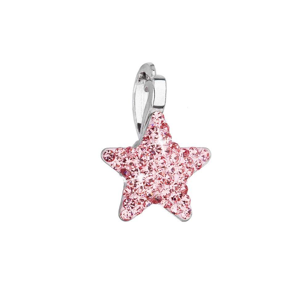 Stříbrný přívěsek s Preciosa krystaly růžová hvězdička 34260.3 Lt. rose