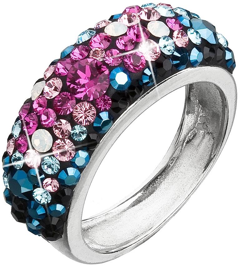 Stříbrný prsten s krystaly Swarovski mix barev modrá růžová 35031.4 Galaxy