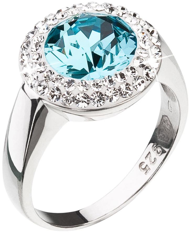 Stříbrný prsten s krystaly Swarovski modrý kulatý 35026.3 Light Turquoise