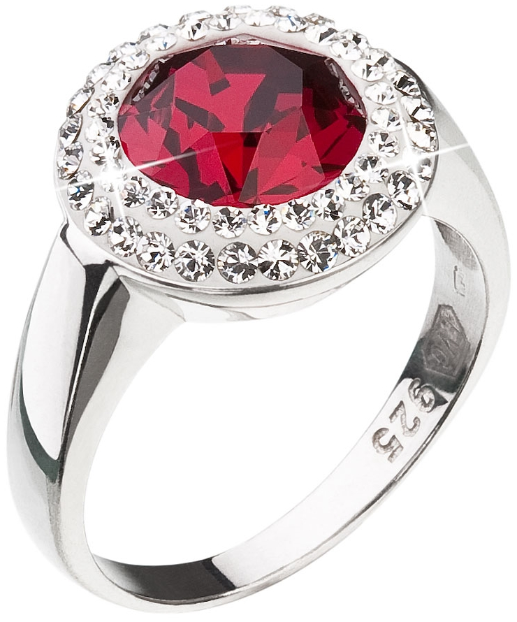 Stříbrný prsten s krystaly Swarovski červený kulatý 35026.3 Ruby