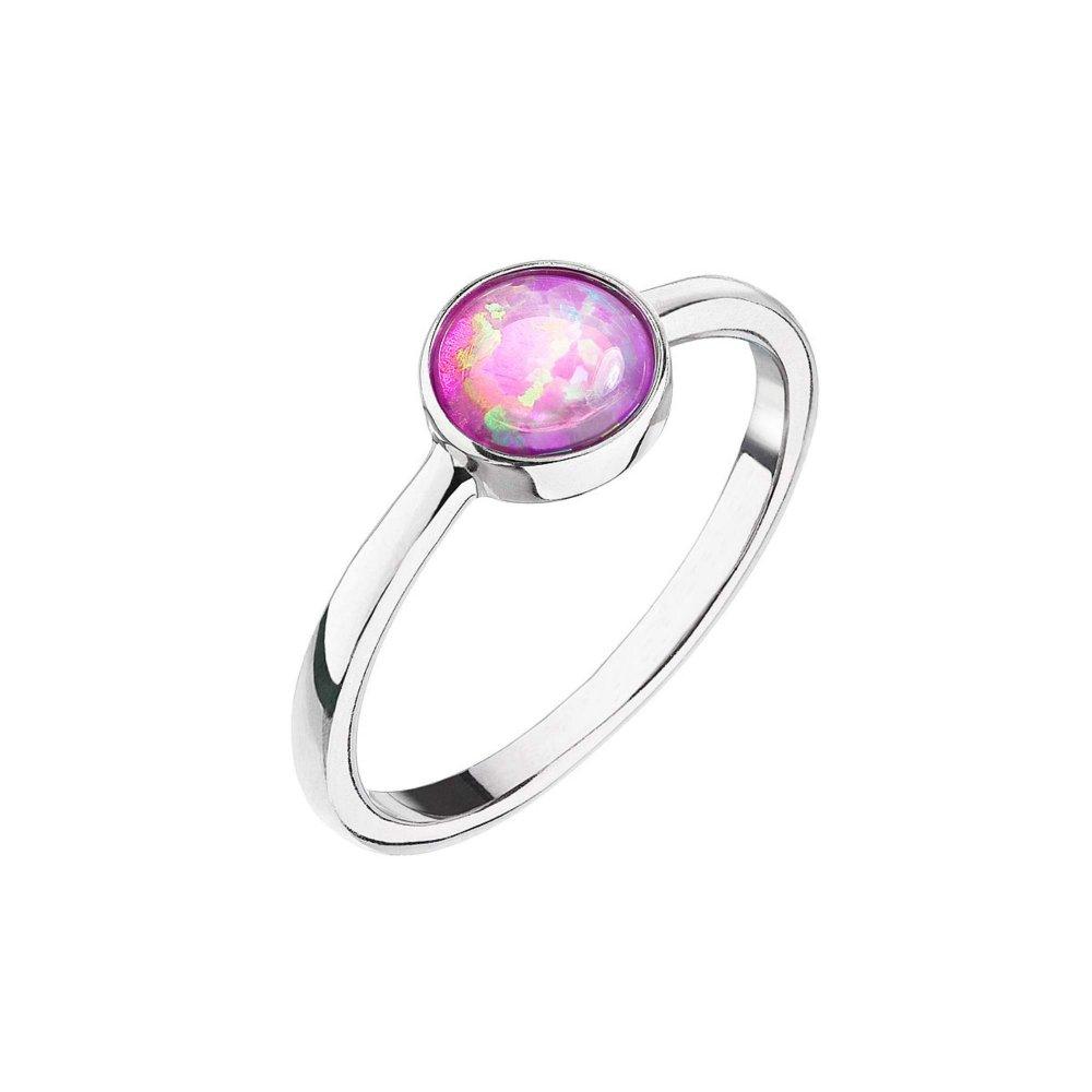 Stříbrný prsten se syntetickým opálem růžový kulatý 15001.3