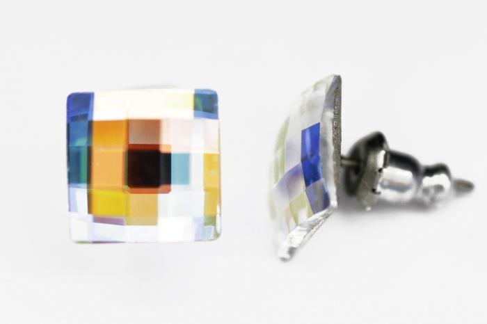 Náušnice Swarovski - diskočtverec AB 10mm