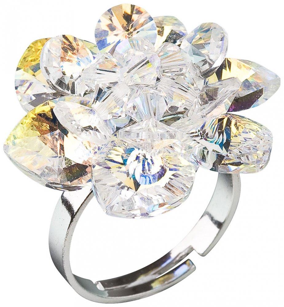 Stříbrný prsten s krystaly Swarovski AB efekt bílá kytička 35012.2 AB