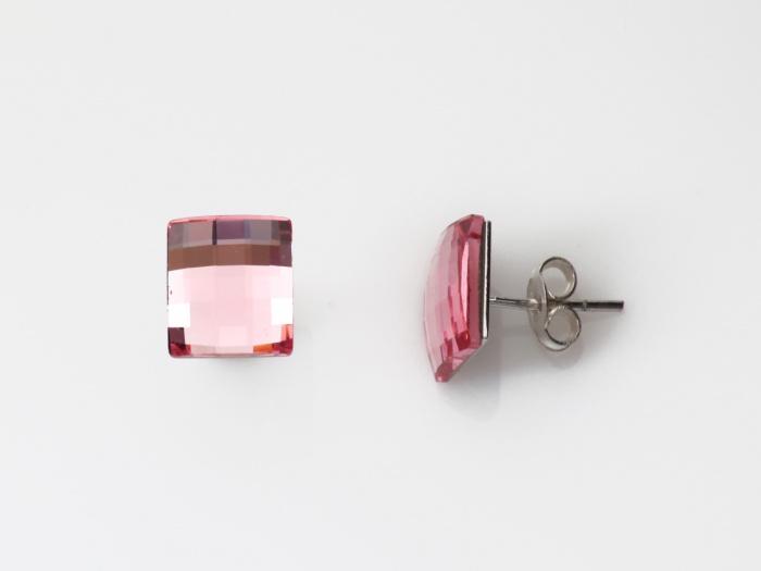 Náušnice Swarovski elements tvar diskočtverec 01/041003, stříbro, světle růžová