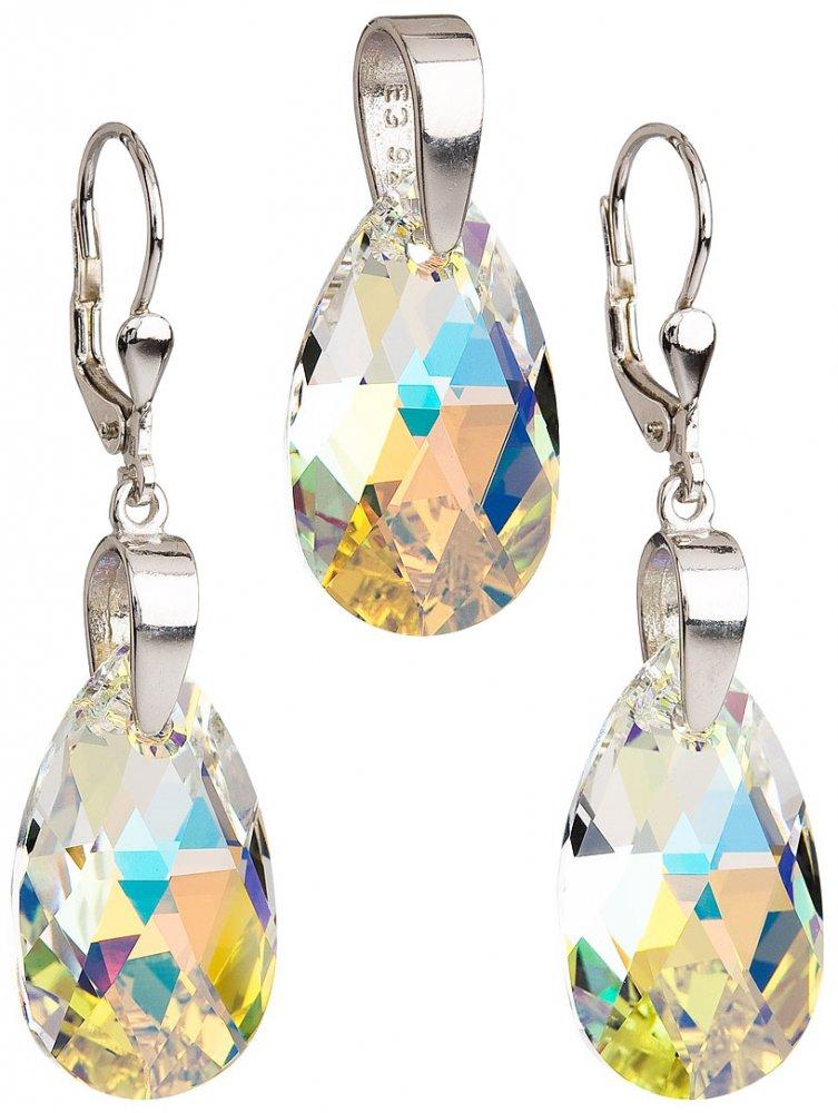 Sada šperků s krystaly Swarovski náušnice a přívěsek AB efekt slza 39049.2 Krystal AB