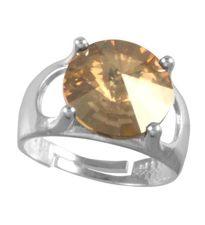 Prsten se Swarovski Elements Rivoli Light Topaz 12 mm