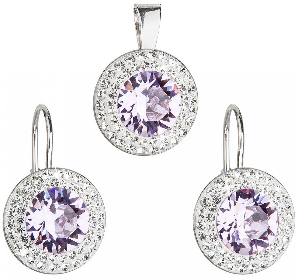 Sada šperků s krystaly Swarovski náušnice a přívěsek fialové kulaté 39107.3 Violet