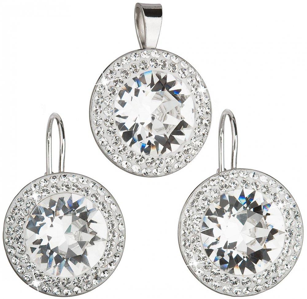 Sada šperků s krystaly Swarovski náušnice a přívěsek bílé kulaté 39108.1 Krystal