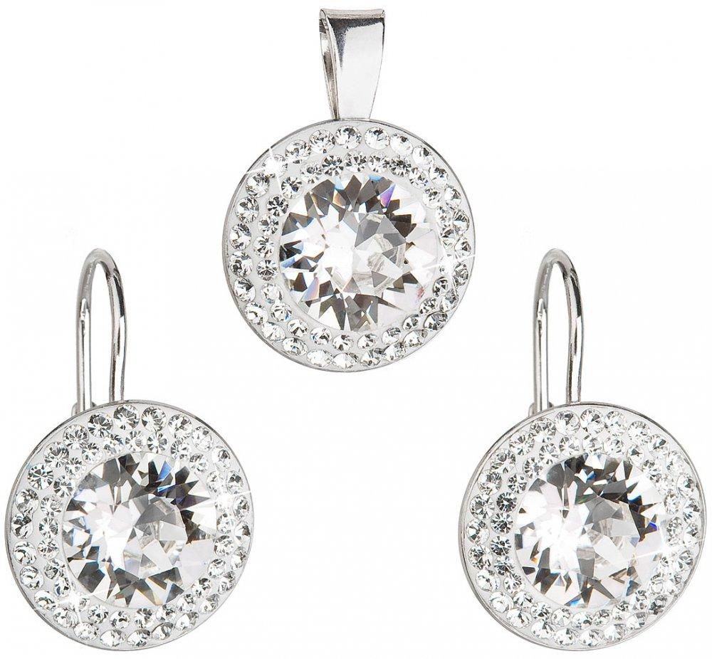Sada šperků s krystaly Swarovski náušnice a přívěsek bílé kulaté 39107.1 Krystal