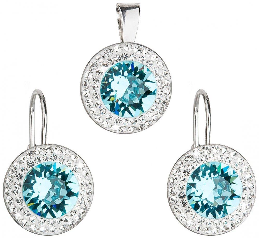 Sada šperků s krystaly Swarovski náušnice a přívěsek modré kulaté 39107.3 Light Turquoise