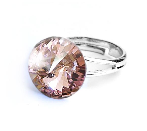 Prsten světle růžový Rivoli se Swarovski Elements Light Rose 12 mm