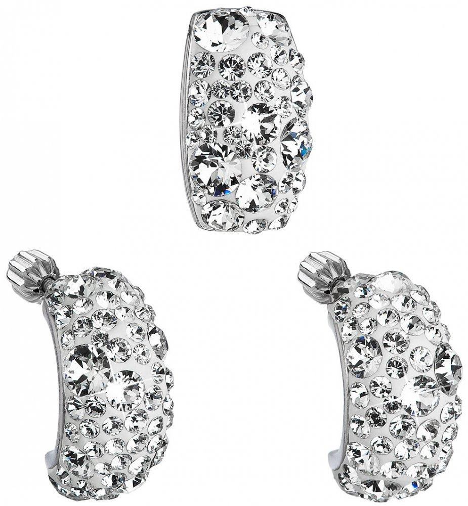 Sada šperků s krystaly Swarovski náušnice a přívěsek bílý obdélník 39116.1 Krystal