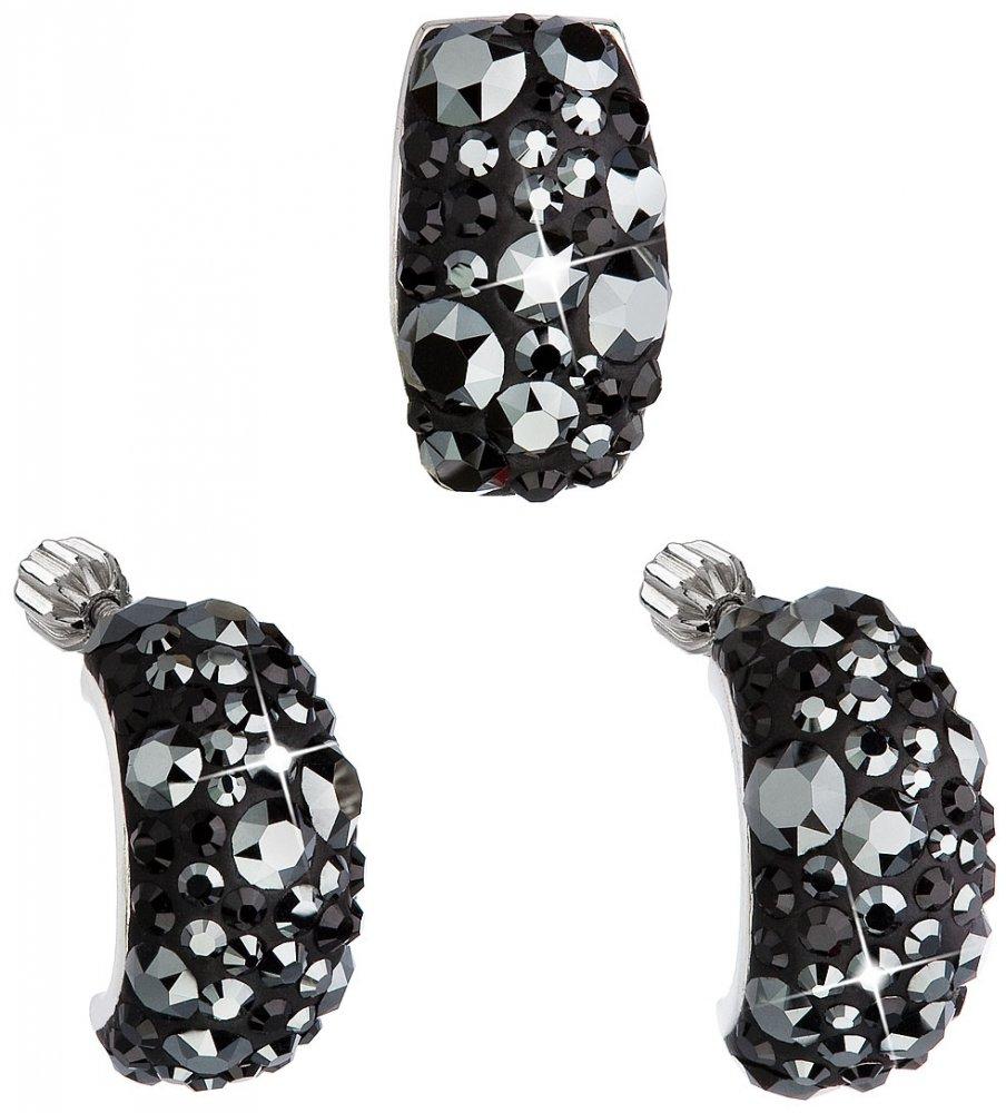 Sada šperků s krystaly Swarovski náušnice a přívěsek černý obdélník 39116.5 Hematite