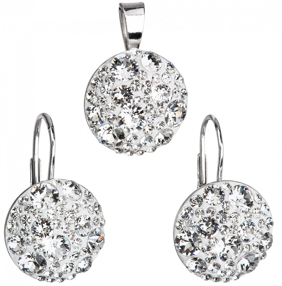 Sada šperků s krystaly Swarovski náušnice a přívěsek bílé kulaté 39117.1 Krystal