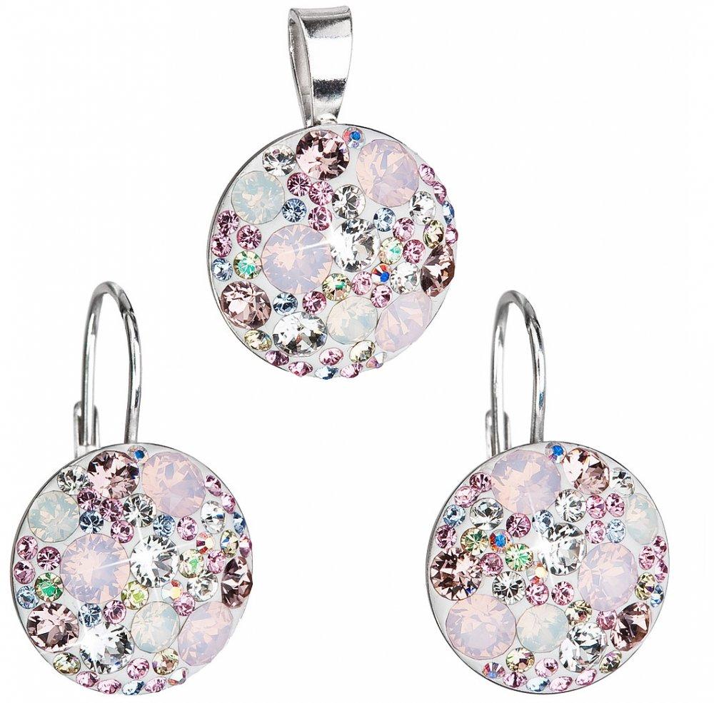 Sada šperků s krystaly Swarovski náušnice a přívěsek růžové kulaté 39117.3 Magic rose
