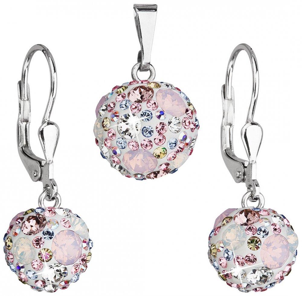 Sada šperků s krystaly Swarovski náušnice a přívěsek růžové kulaté 39072.3 Magic Rose