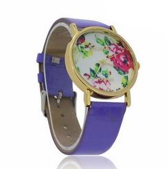 Dámské hodinky GENEVA fialové s květy