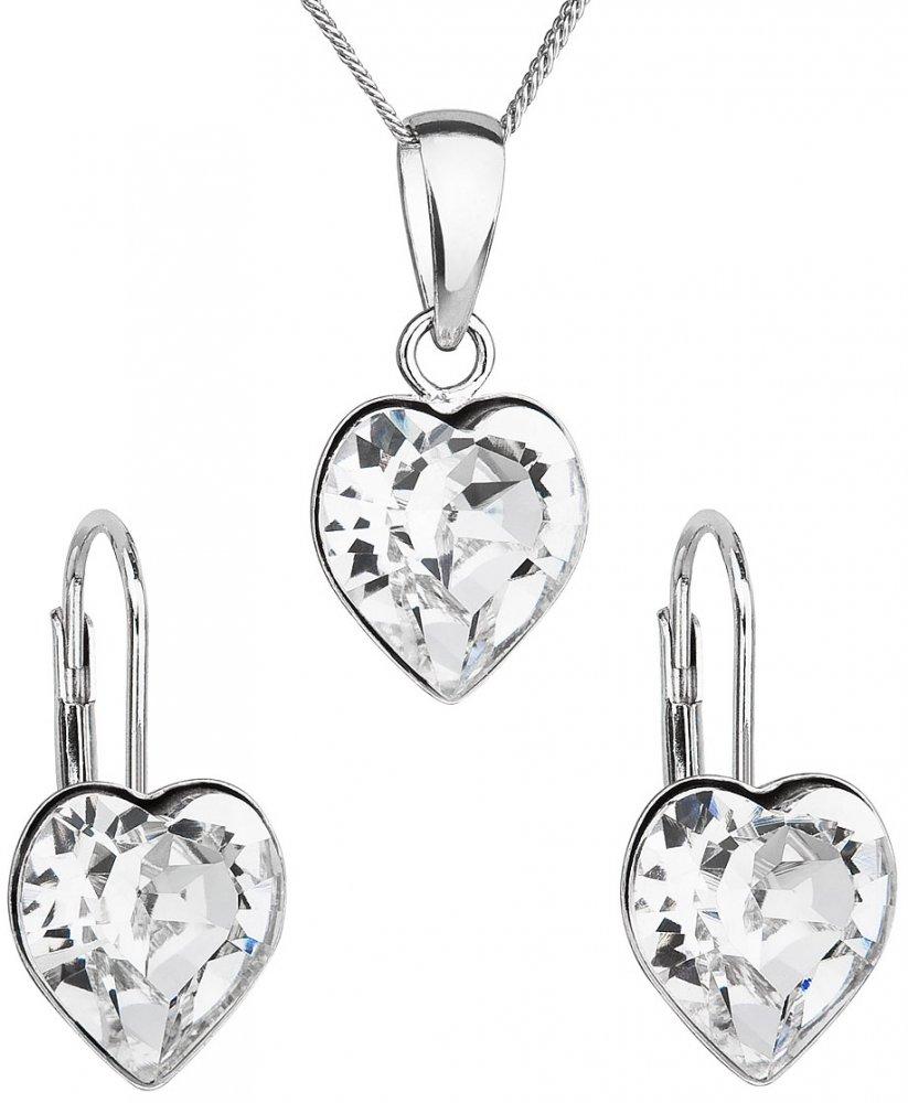 Sada šperků s krystaly Swarovski náušnice, řetízek a přívěsek bílé srdce 39141.1 Krystal