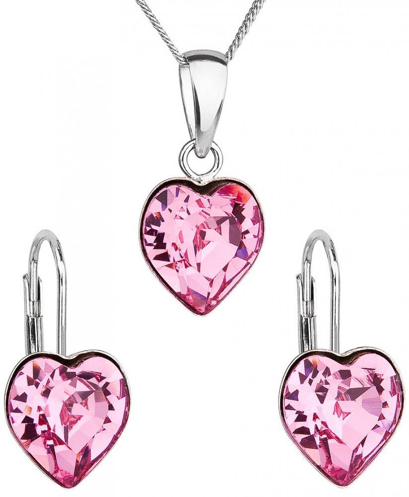 Sada šperků s krystaly Swarovski náušnice, řetízek a přívěsek růžové srdce 39141.3 Rose