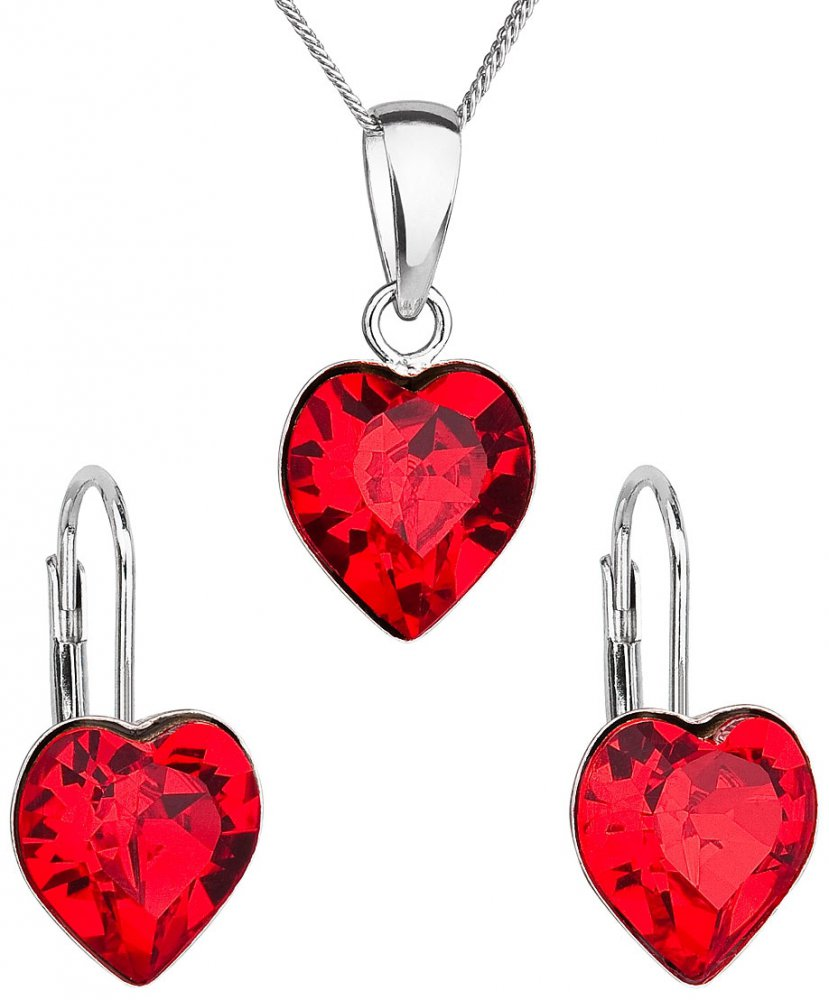Sada šperků s krystaly Swarovski náušnice, řetízek a přívěsek červené srdce 39141.3 Light Siam