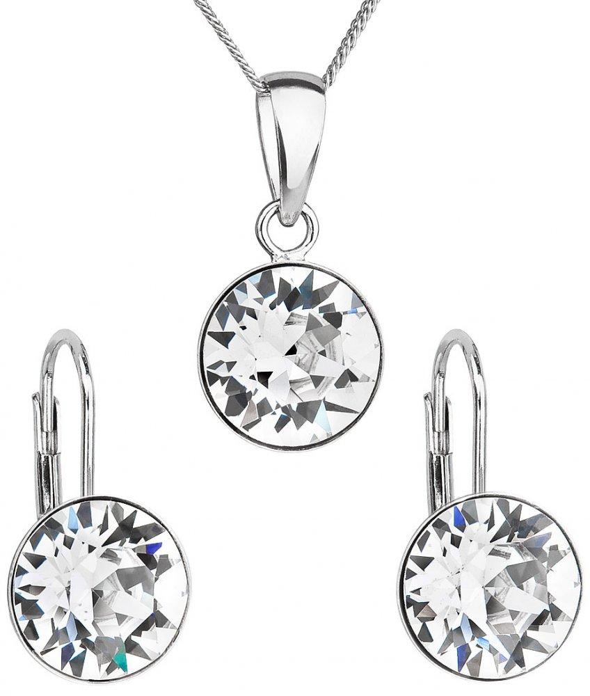 Sada šperků s krystaly Swarovski náušnice a přívěsek bílé kulaté 39140.1 Krystal