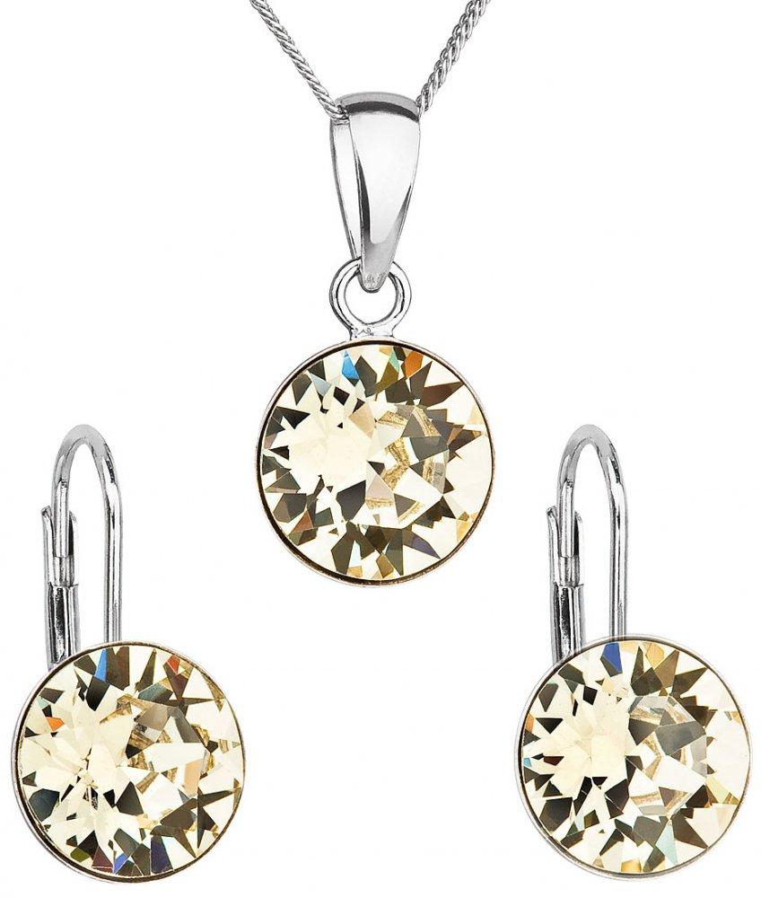 Sada šperků s krystaly Swarovski náušnice, řetízek a přívěsek žluté kulaté 39140.3 Jonquil