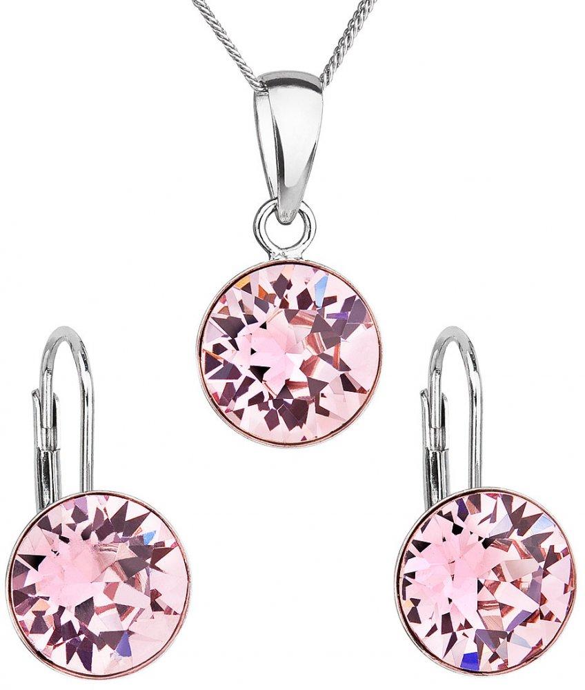 Sada šperků s krystaly Swarovski náušnice, řetízek a přívěsek růžové kulaté 39140.3 Light Rose