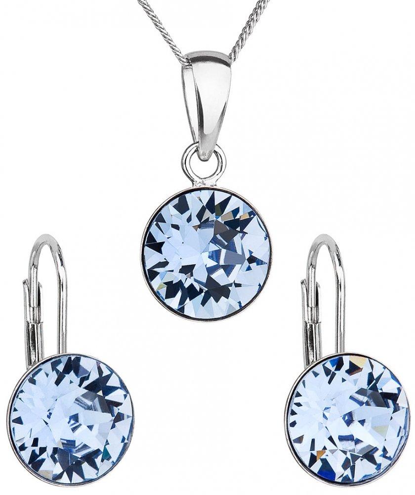 Sada šperků s krystaly Swarovski náušnice, řetízek a přívěsek modré kulaté 39140.3 Light Sapphire