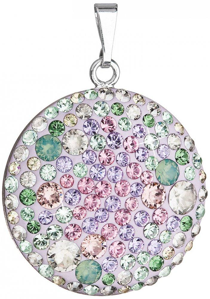 Stříbrný přívěsek s krystaly Swarovski mix barev fialová zelená růžová kulatý 34131.3 Sakura