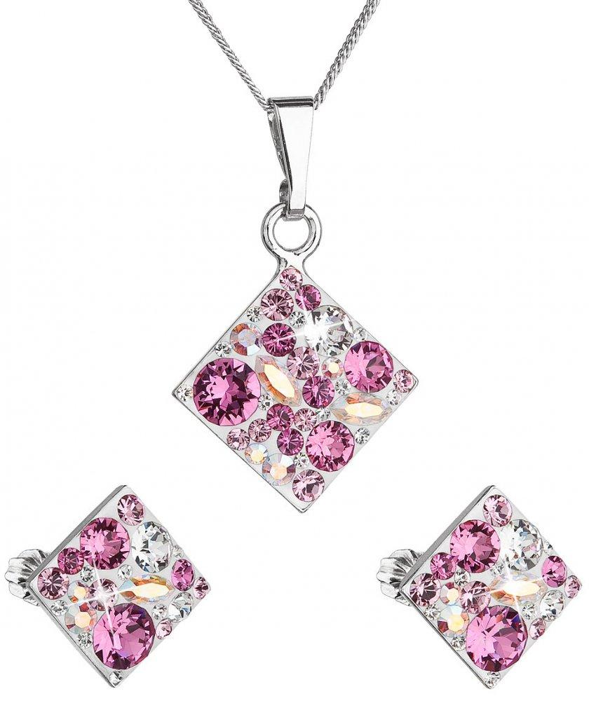 Sada šperků s krystaly Swarovski náušnice, řetízek a přívěsek růžový kosočtverec 39126.3 Rose
