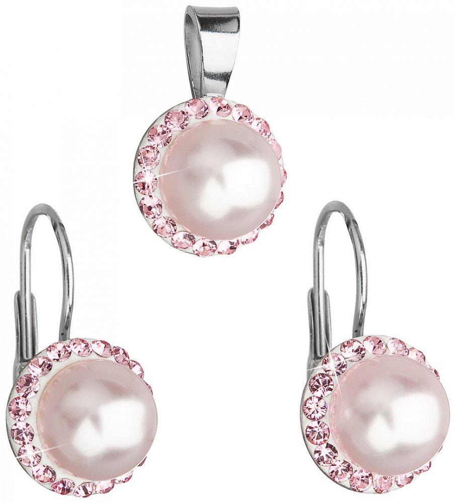 Souprava se Swarovski Elements růžová perla 39091.1 Rosaline