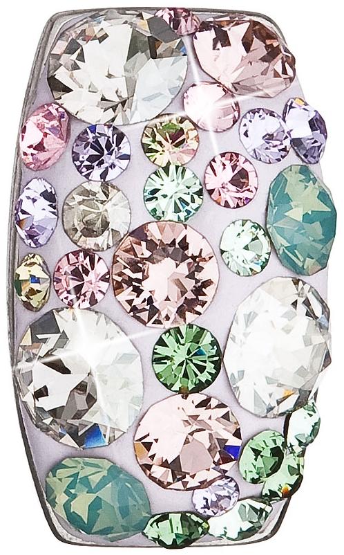Stříbrný přívěsek s krystaly Swarovski mix barev obdélník 34194.3 Sakura