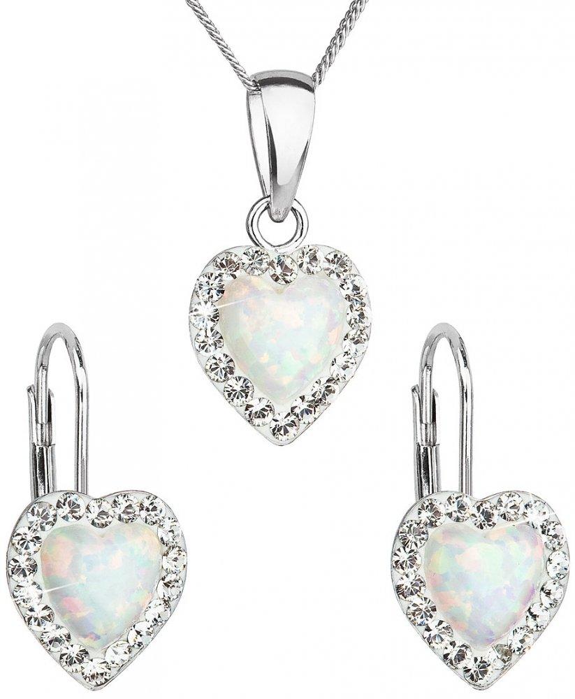 Sada šperků se syntetickým opálem a krystaly Swarovski náušnice a přívěšek bílé srdce 39161.1 White s. Opal