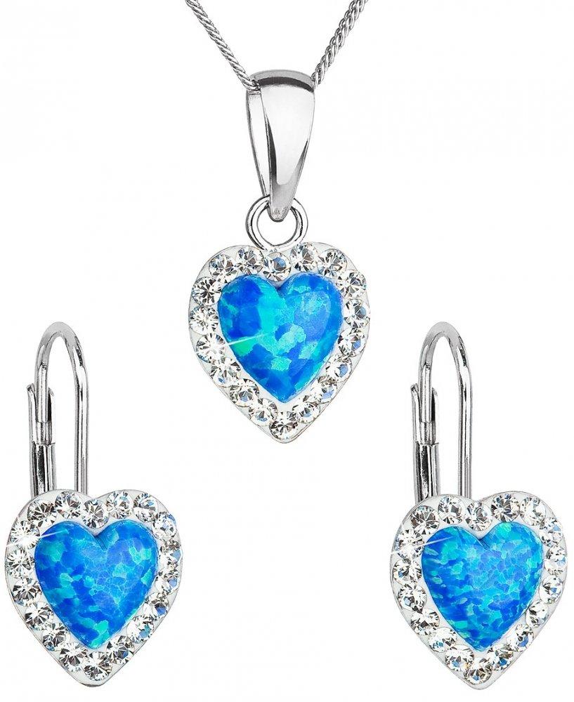 Sada šperků se syntetickým opálem a krystaly Swarovski náušnice a přívěšek modré srdce 39161.1 Blue s. Opal