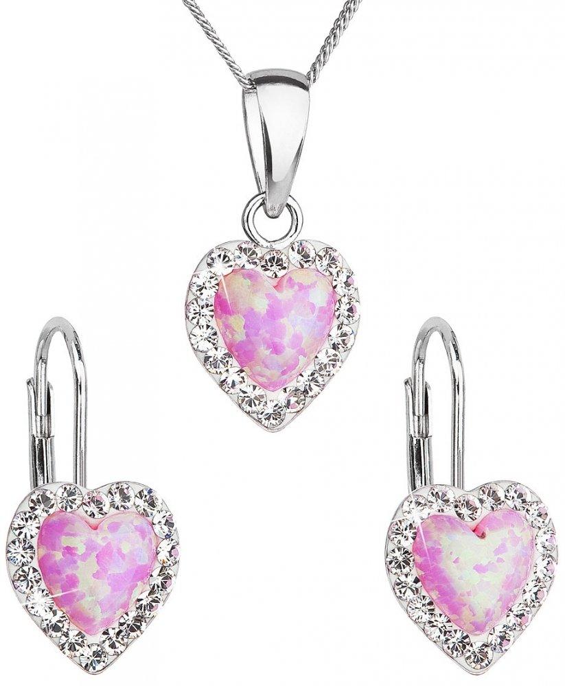 Sada šperků se syntetickým opálem a krystaly Swarovski náušnice a přívěšek světle růžové srdce 39161.1 Rose s. Opal